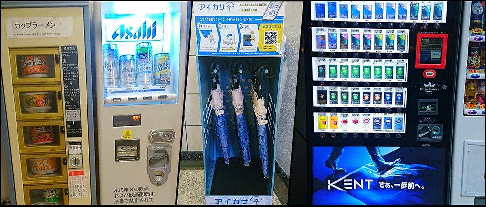 Japanese vending machines selling ramen, beer, umbrellas and sigarettes