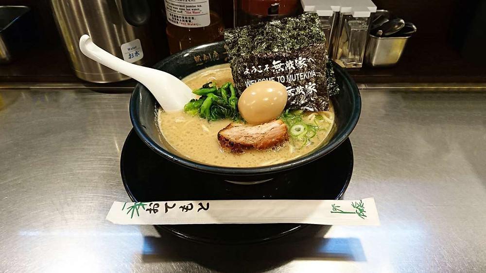 A bowl of Tokyo Tonkotsu at Mutekiya Ramen in Ikebukuro, Tokyo