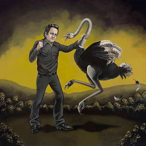 Johnny Cash Ostrich Attack print- Erika Jane