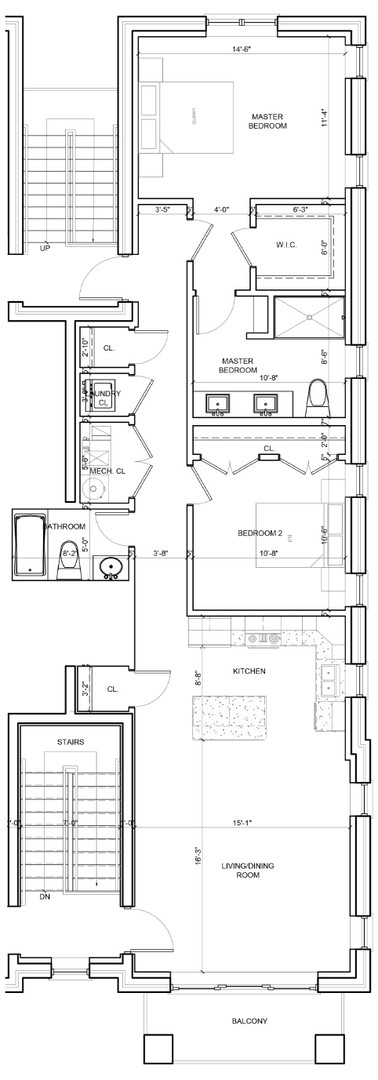 Third Floor Outside Right Unit Layout
