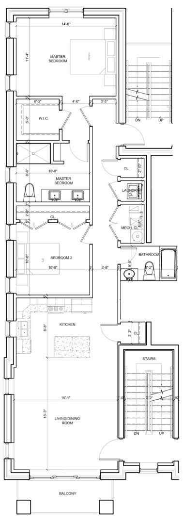 Second Floor Outside Left Unit Layout