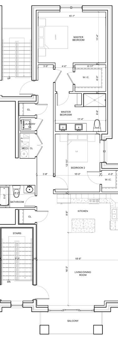Third Floor Center Left Unit Layout