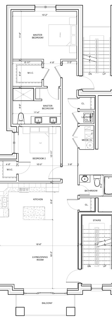 Second Floor Center Right Unit Layout