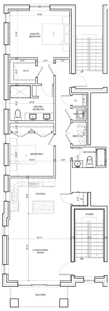 Third Floor Outside Left Unit Layout