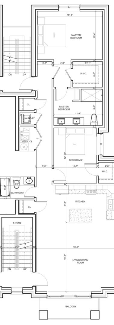 Second Floor Center Left Unit Layout