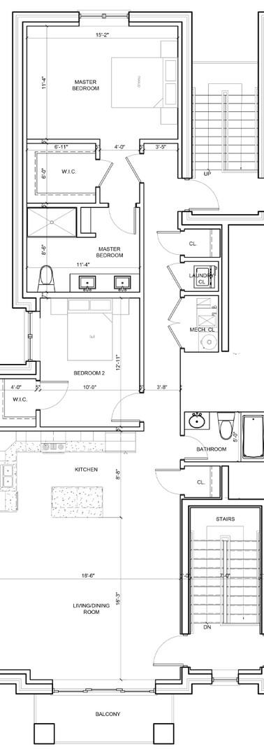 Third Floor Center Right Unit Layout