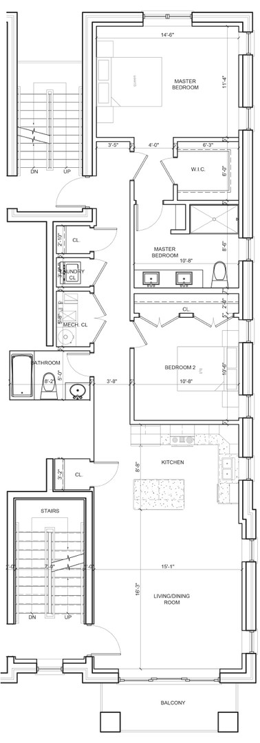 Second Floor Outside Right Unit Layout