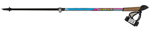 BATON DE MARCHE NORDIQUE INSTRUCTOR VARIO CARBONE Turquoise/rose