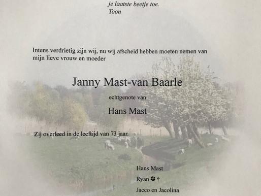 Janny Mast overleden