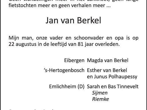 Jan van Berkel overleden
