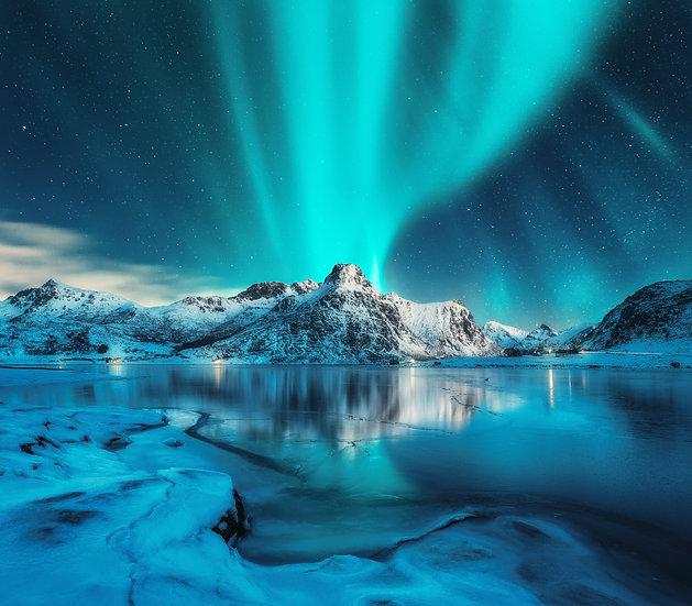 Nordlysbilde blått