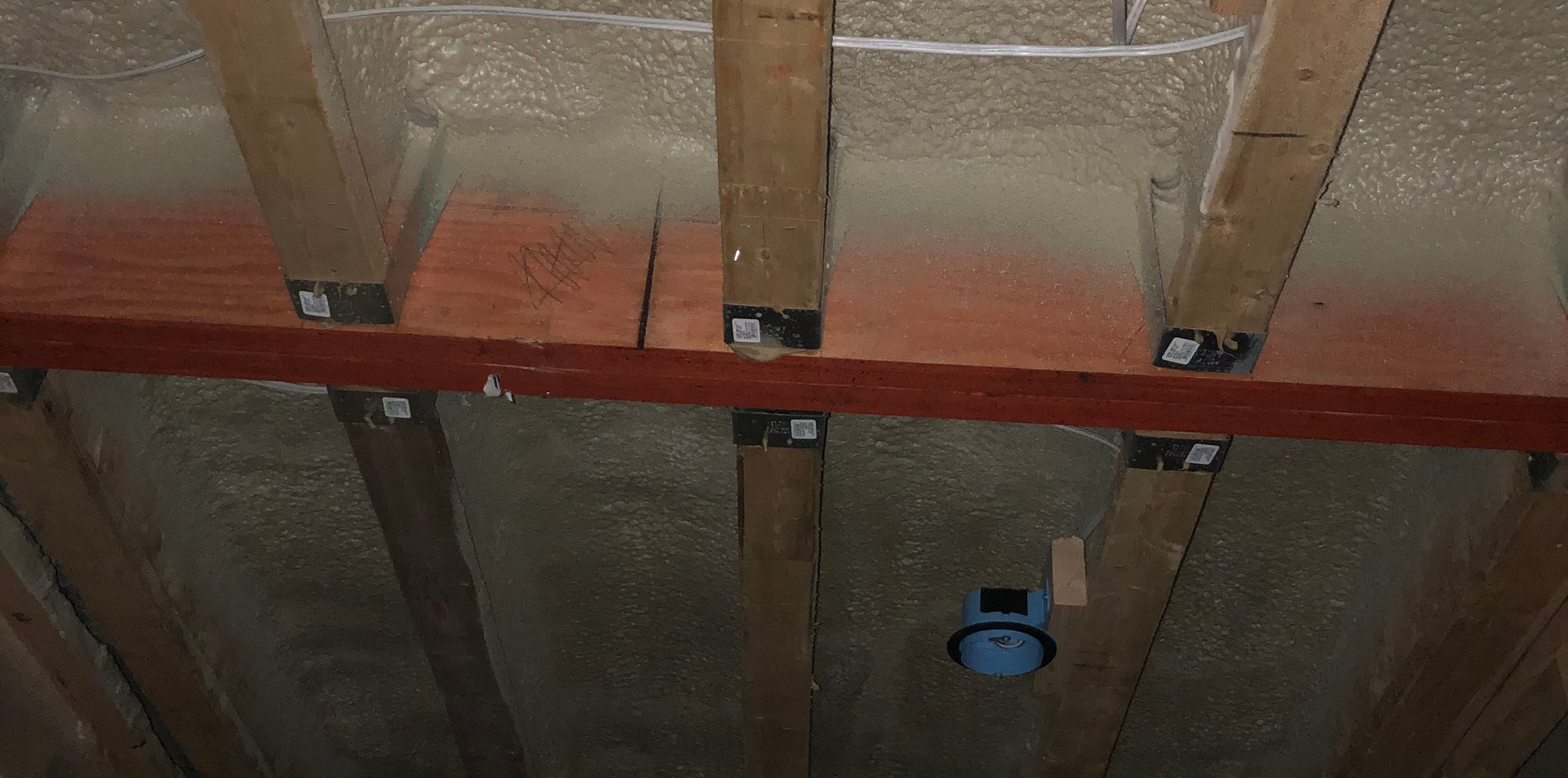 Flat roof sprayed with closed cell foam at R-30 per code