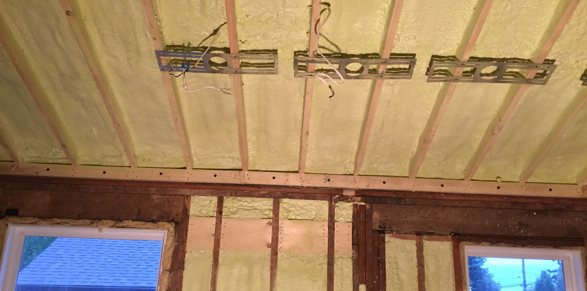 closed cell foam between rafters @ R-40 and walls @ r-20