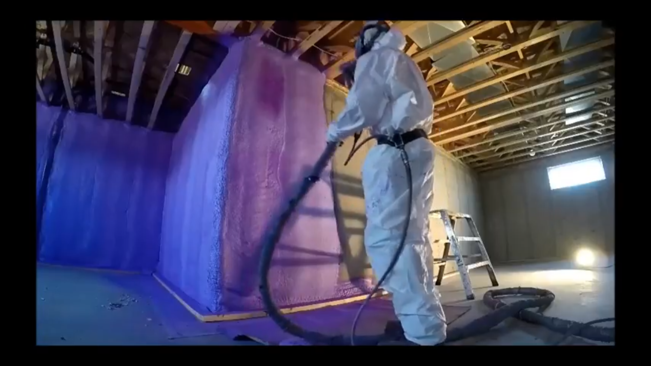 frost walls sprayed with walltite closed cell foam at R-12.