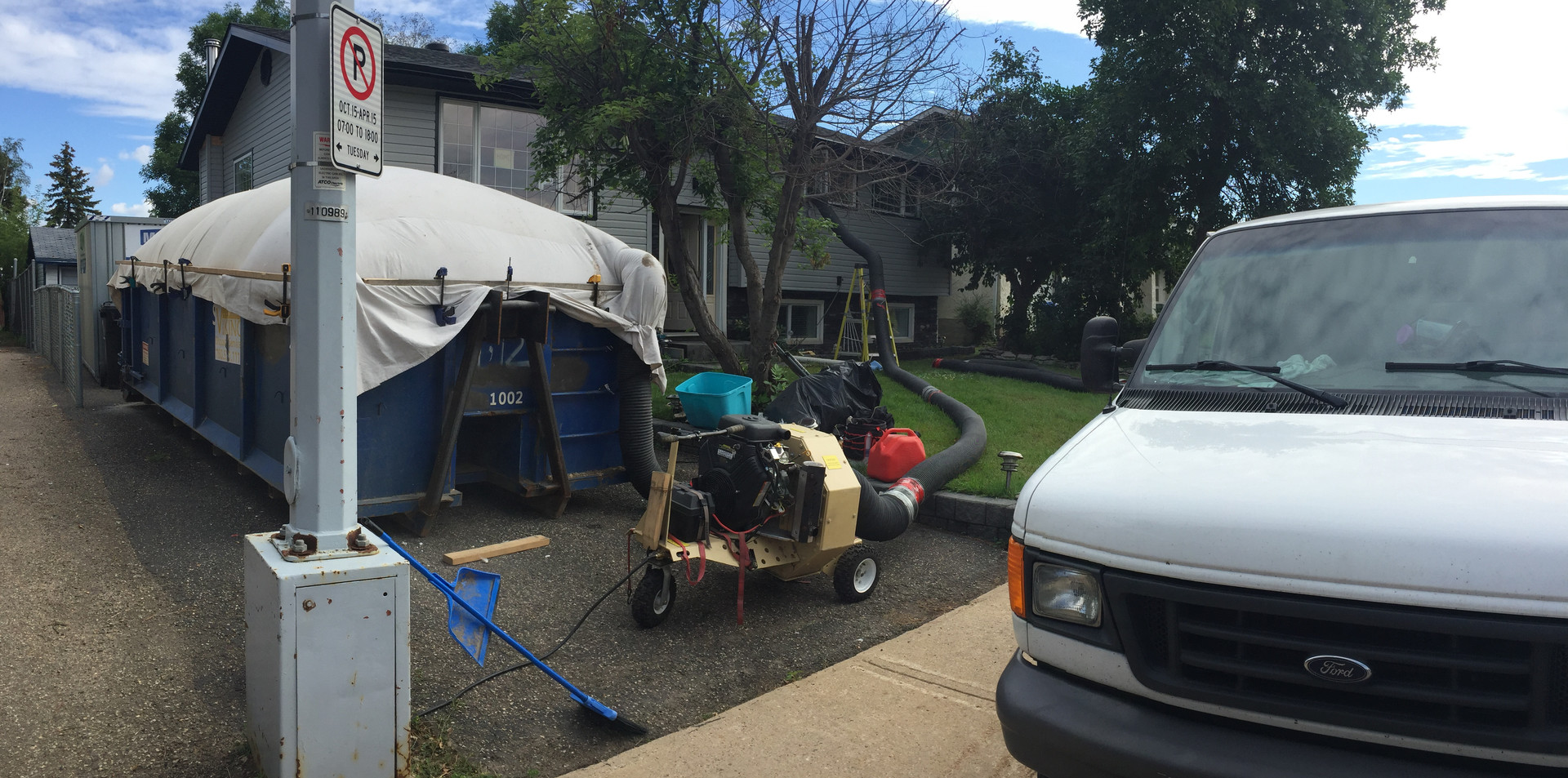 removal of contaminated attic insulation, straight from the attic to the garbage bin.