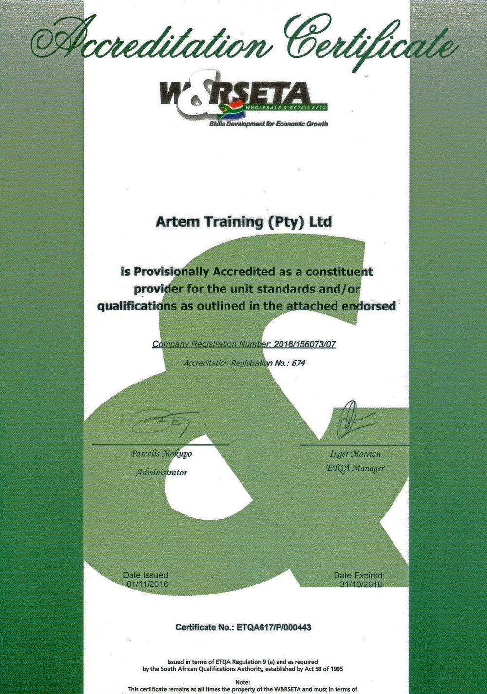 Artem Training WR SETA Accreditation Certificate