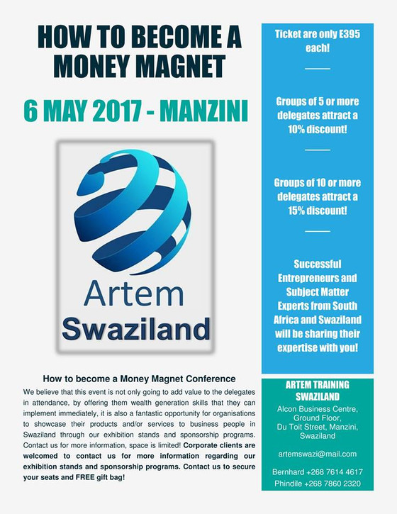 "Artem Training Swaziland Conference ""How to Become a Money Magnet"""
