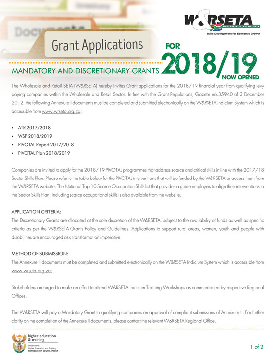 W&R SETA Mandatory and Discretionary Grants for 2018/2019 now open - Deadline