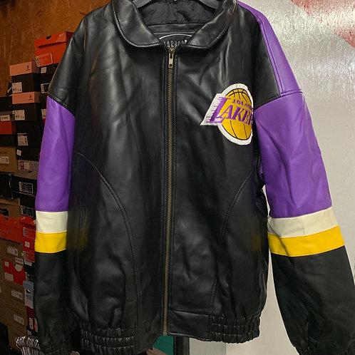 VTG Lakers Leather Jacket (Size: L)