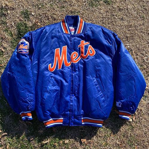 NY Mets Satin Starter Jacket (Size: L)