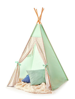 Cozy play tent for kids on white backgro