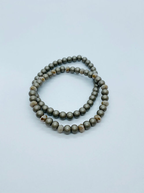 Bracel'its - shiny taupe & facet set 2