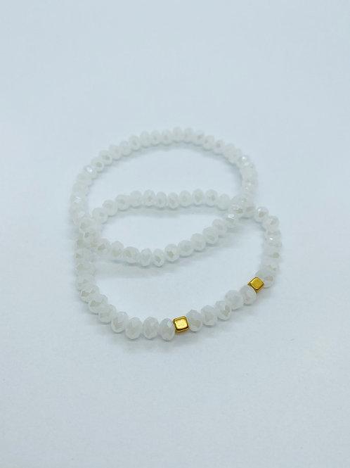 Bracel'its - white facet & gold squares
