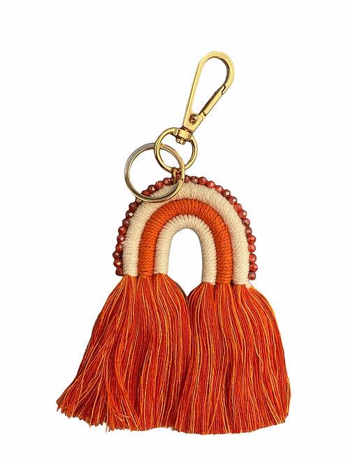 Extra's - macramé key chain orange rainbow