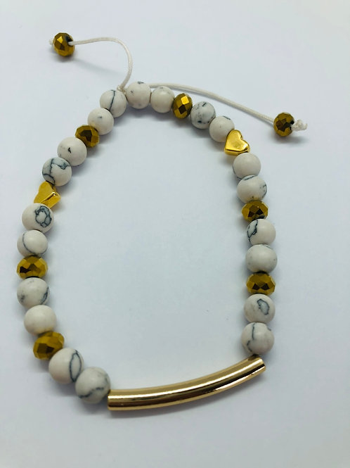 Bracel'its - white marble & gold