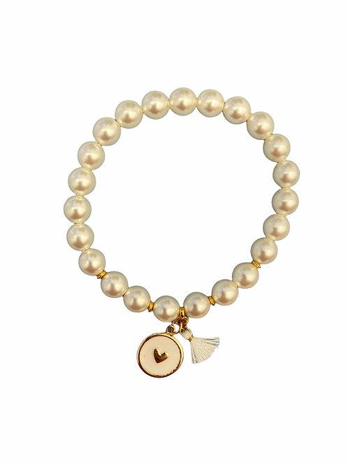 Bracel'its - white pearl heart