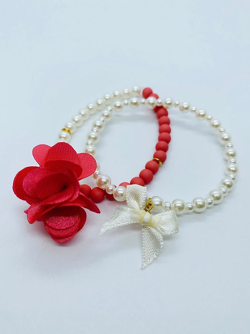 Bracel'its - set white pearl - flamingo pink