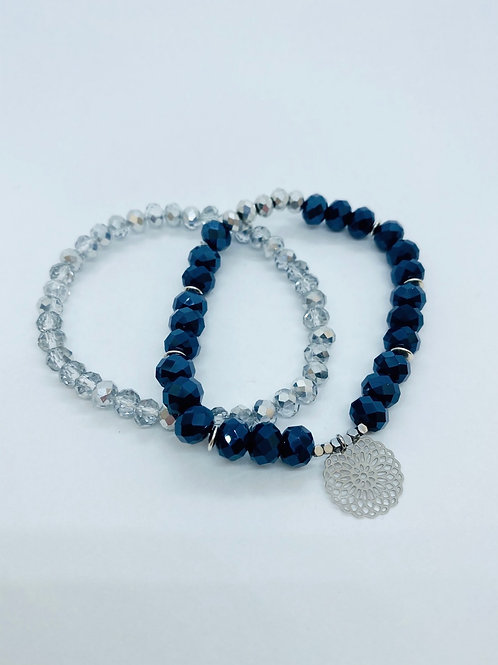 Bracel'its - set navy facet & silver