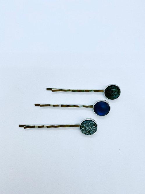 Haarspeldjes - trio van blauw