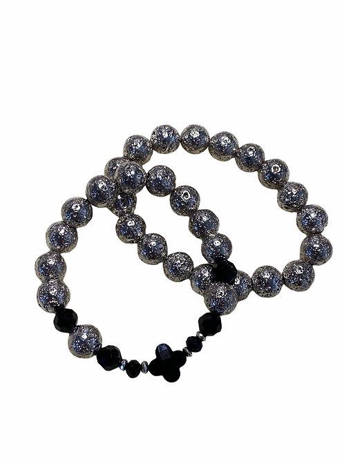 Bracel'its - set of 2 silver lava beads black touch