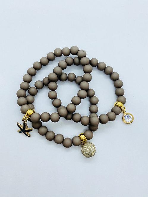 Bracel'its - set 3 taupe acryl mat & gold