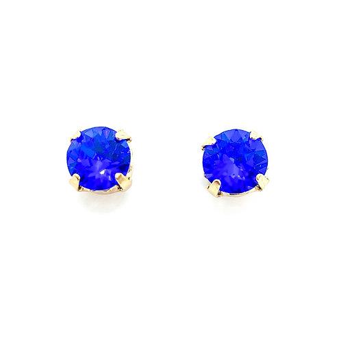 Studs - gold & swarovski blue