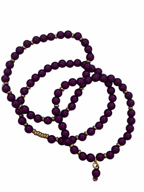 Bracel'its - set of 3 metallic purple