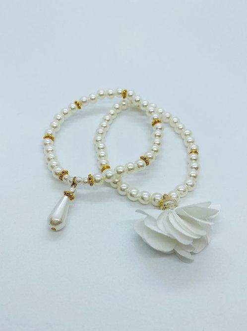 Bracel'its - set white pearl & white flower