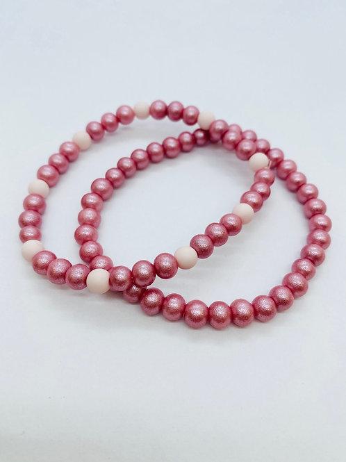 Bracel'its - set 2 shiny & baby pink