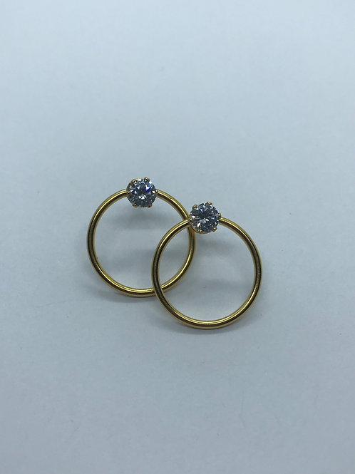 Studs - gold circle solitaire