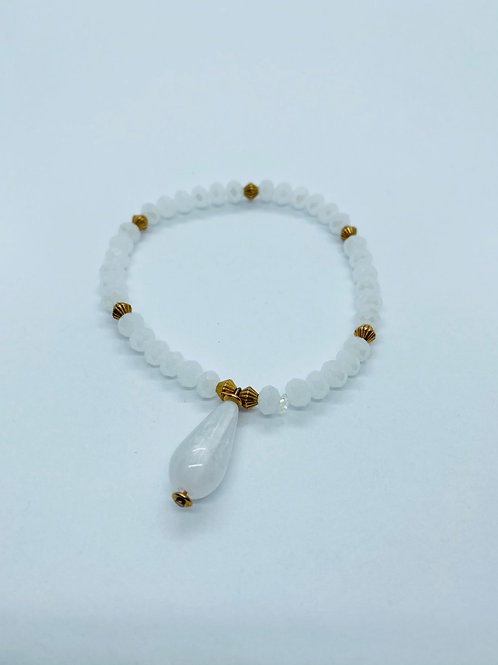 Bracel'its - white & rosé gold & shiny white teardrop