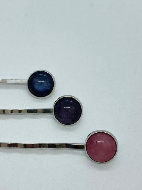 Haarspeldjes - trio 1 (blauw, paars, roze)