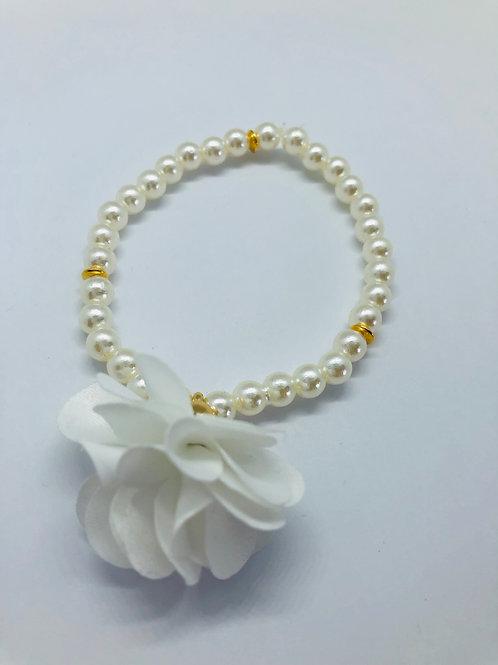 Bracel'its - white pearl & flower
