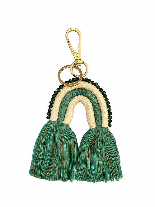 Extra's - macramé key chain green rainbow