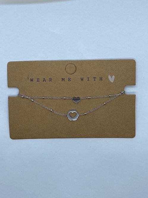 Set silver heart bracel'its