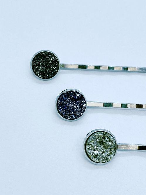 Haarspeldjes - trio 2 (zwart, blauw, zilver)