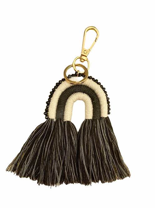 Extra's - macramé key chain black rainbow