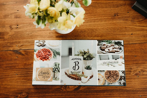 photo album on a dining table