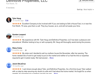 Sell House Fast | Definitive Properties, LLC | Client Testimonials