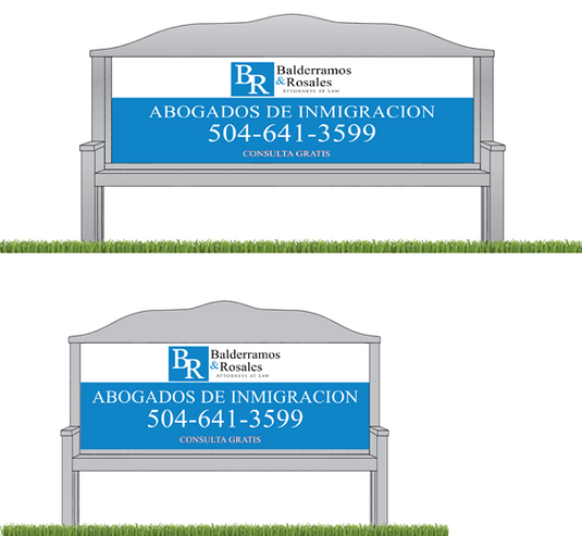 Bus bench design for B & R Law Group